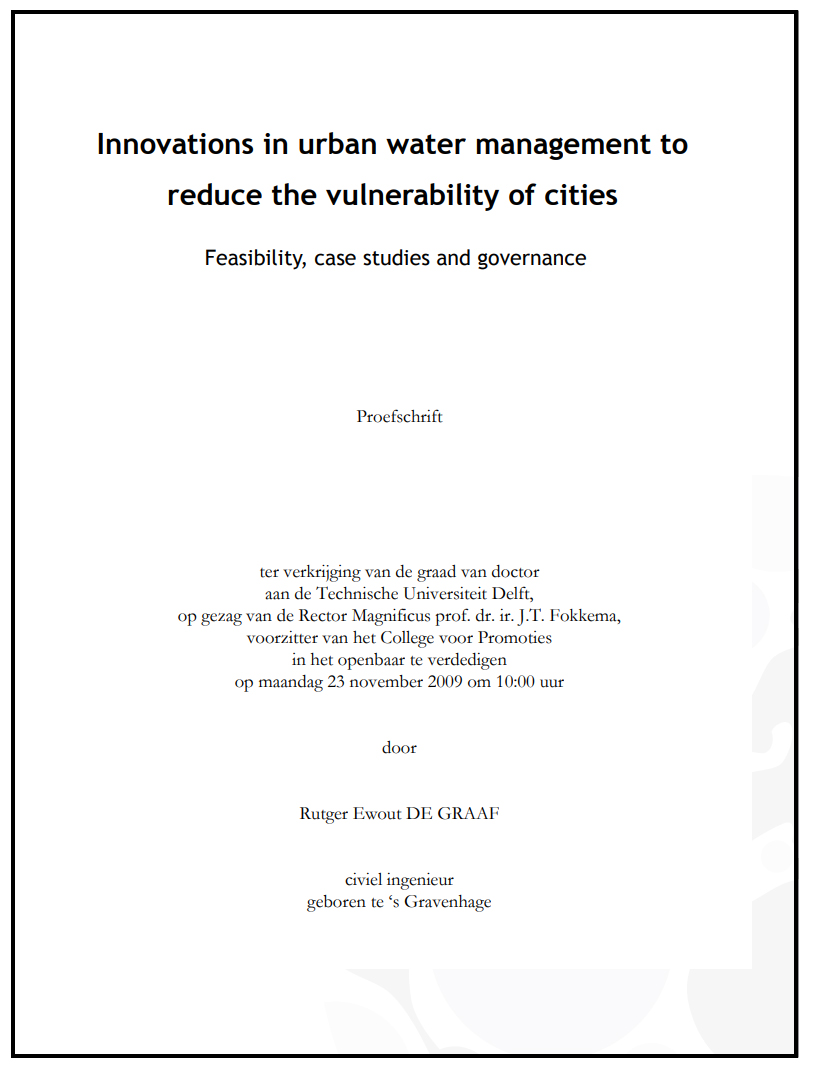 Innovations in urban water management to reduce the vulnerability of cities